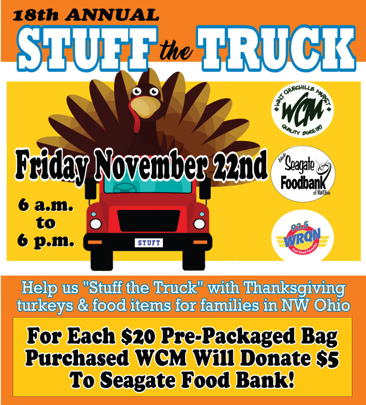 Stuff the Truck: Friday November 22nd 2019 from 6 AM to 5 PM