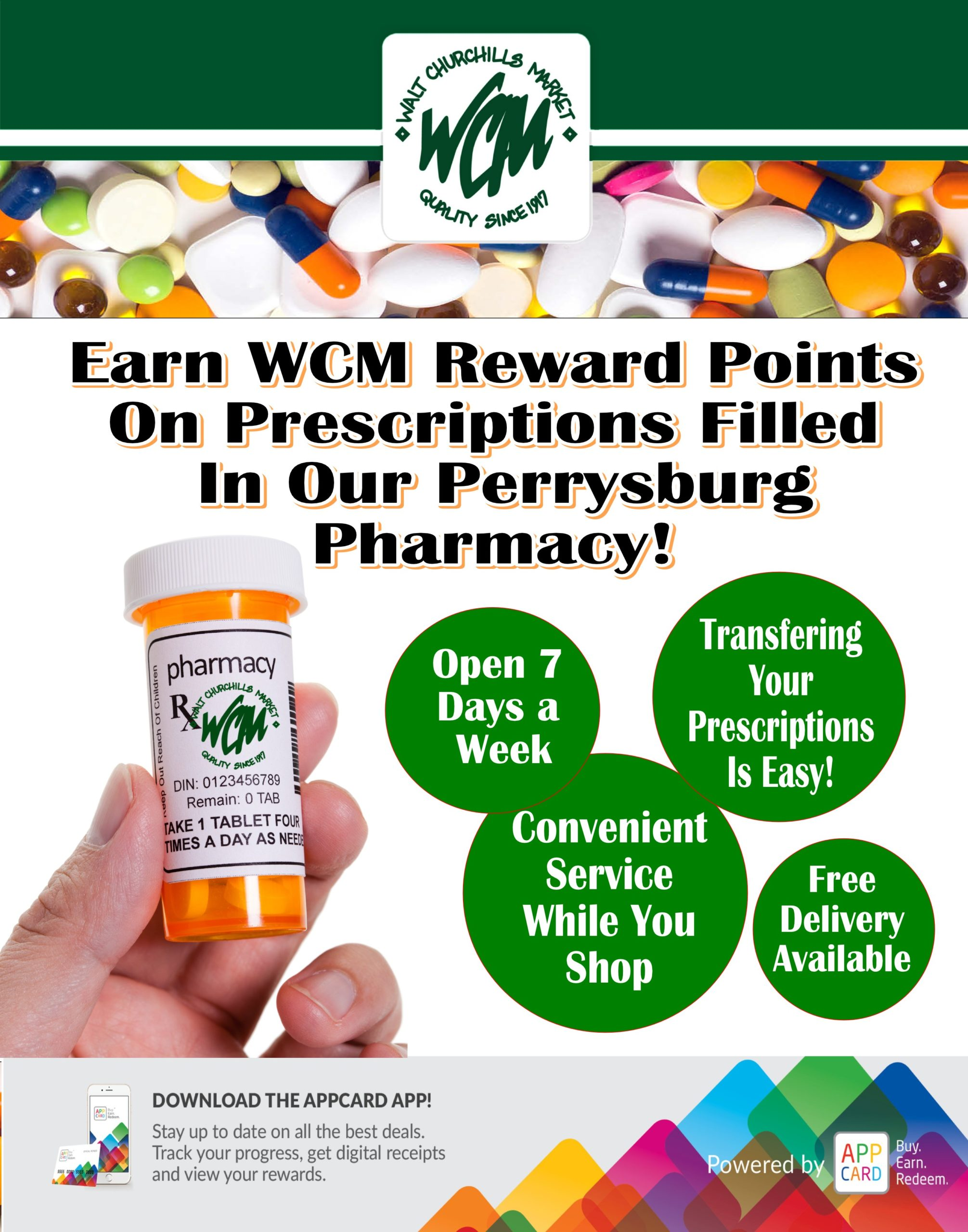 Earn WCM Rewards Points on prescriptions filled in our Perrysburg Pharmacy.