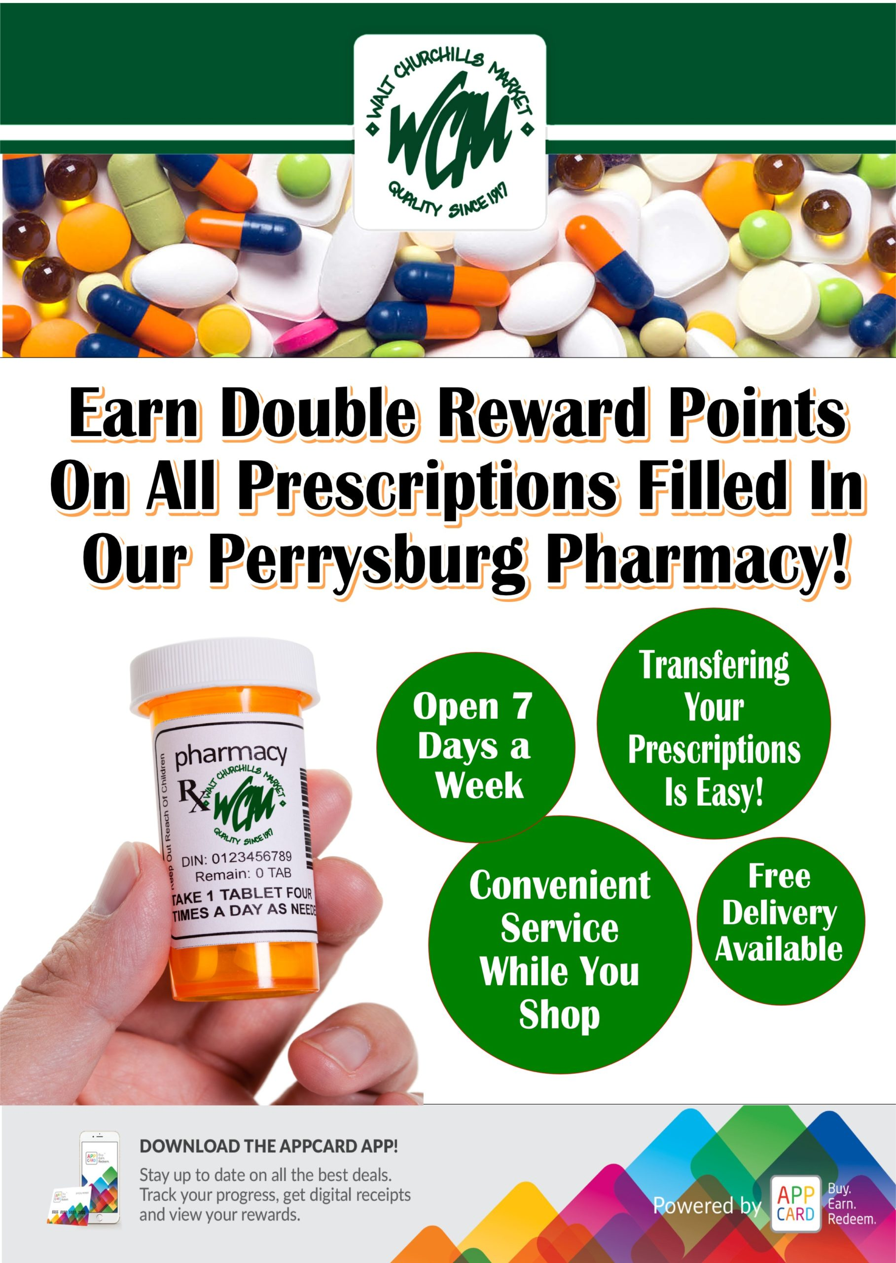 Earn double reward points on all prescriptions filled in our Perrysburg Pharmacy