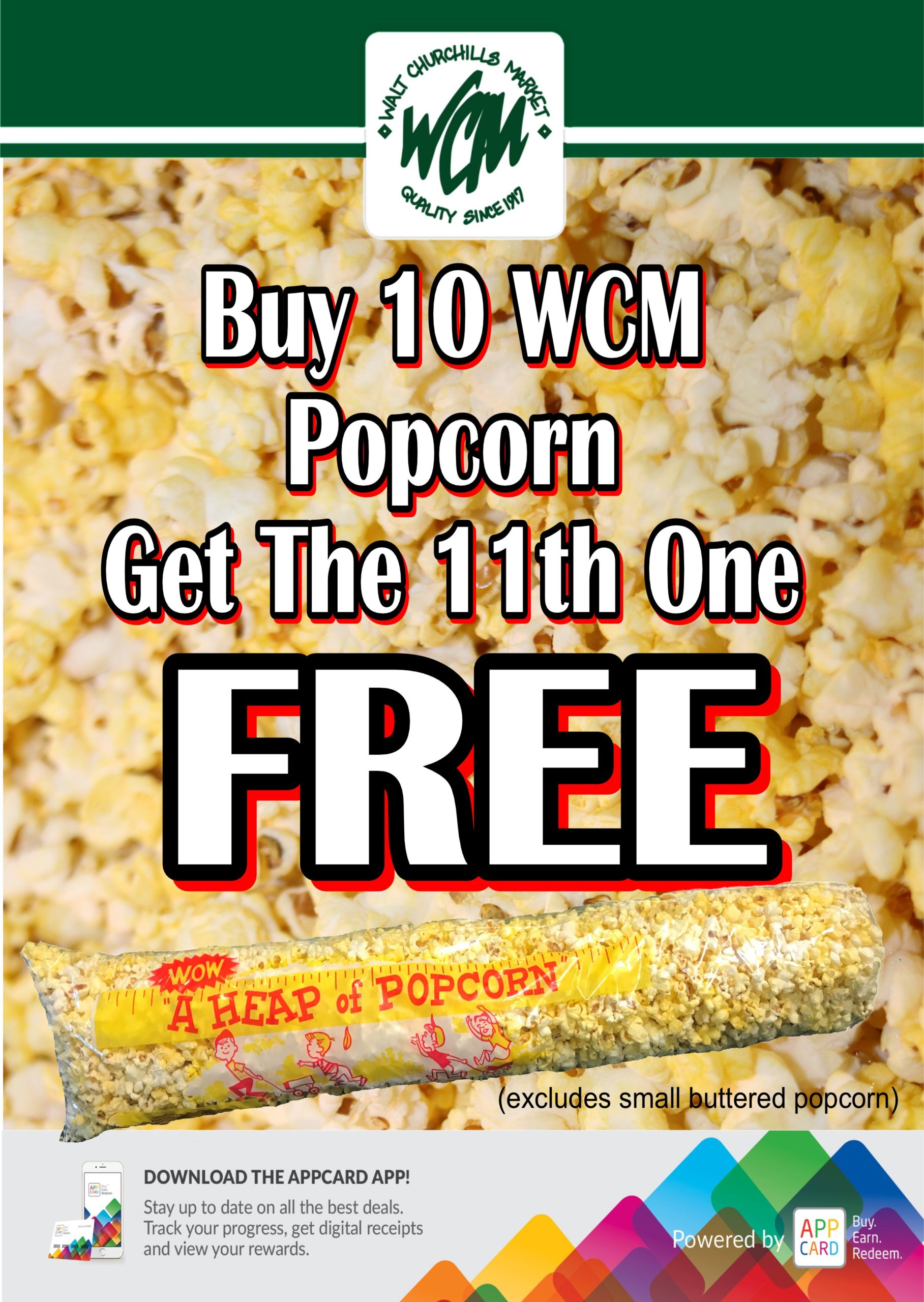 Buy 10 WCM Popcorn Get the 11th one free