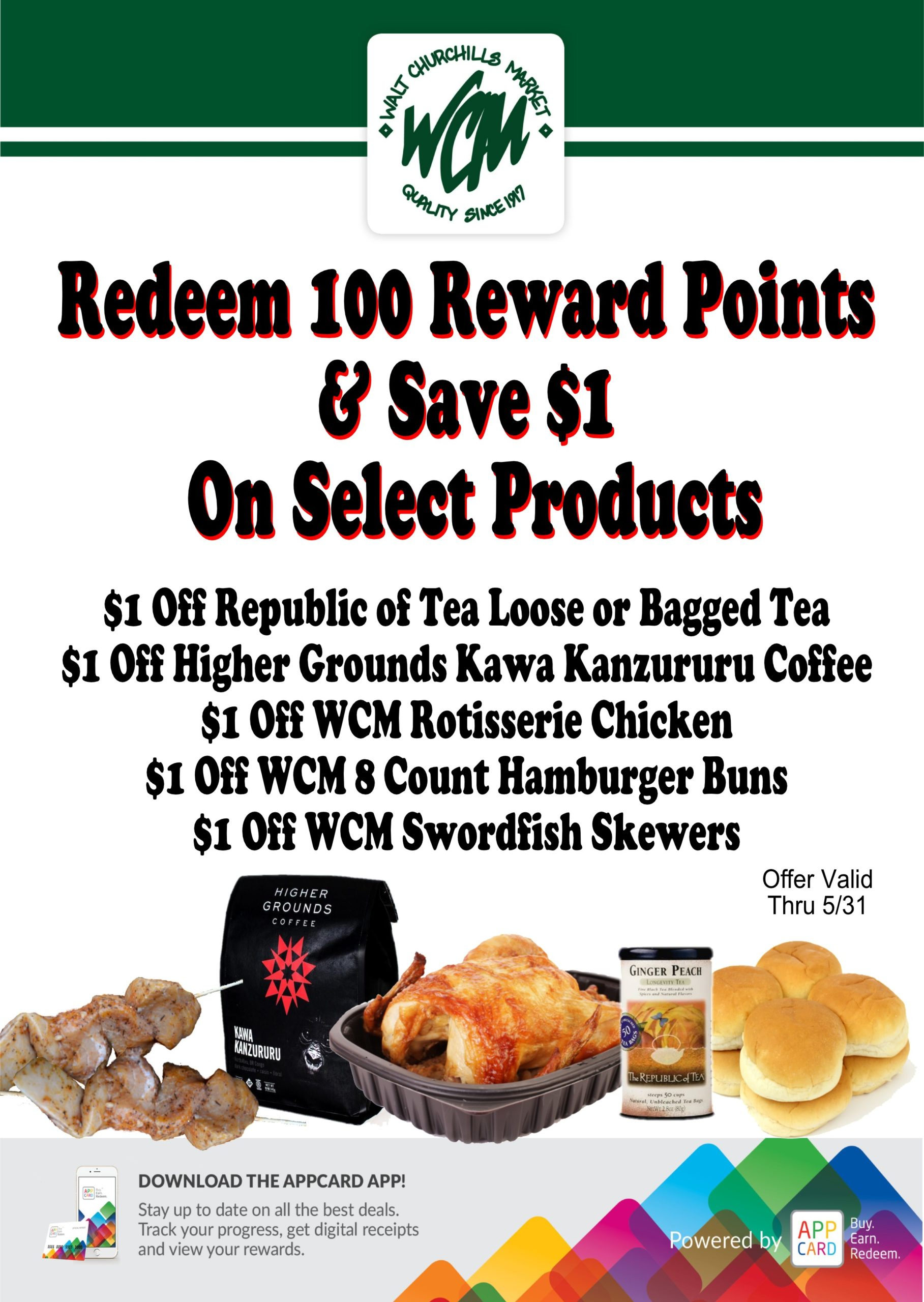 Redeen 100 Reward Points and save $1 on select products