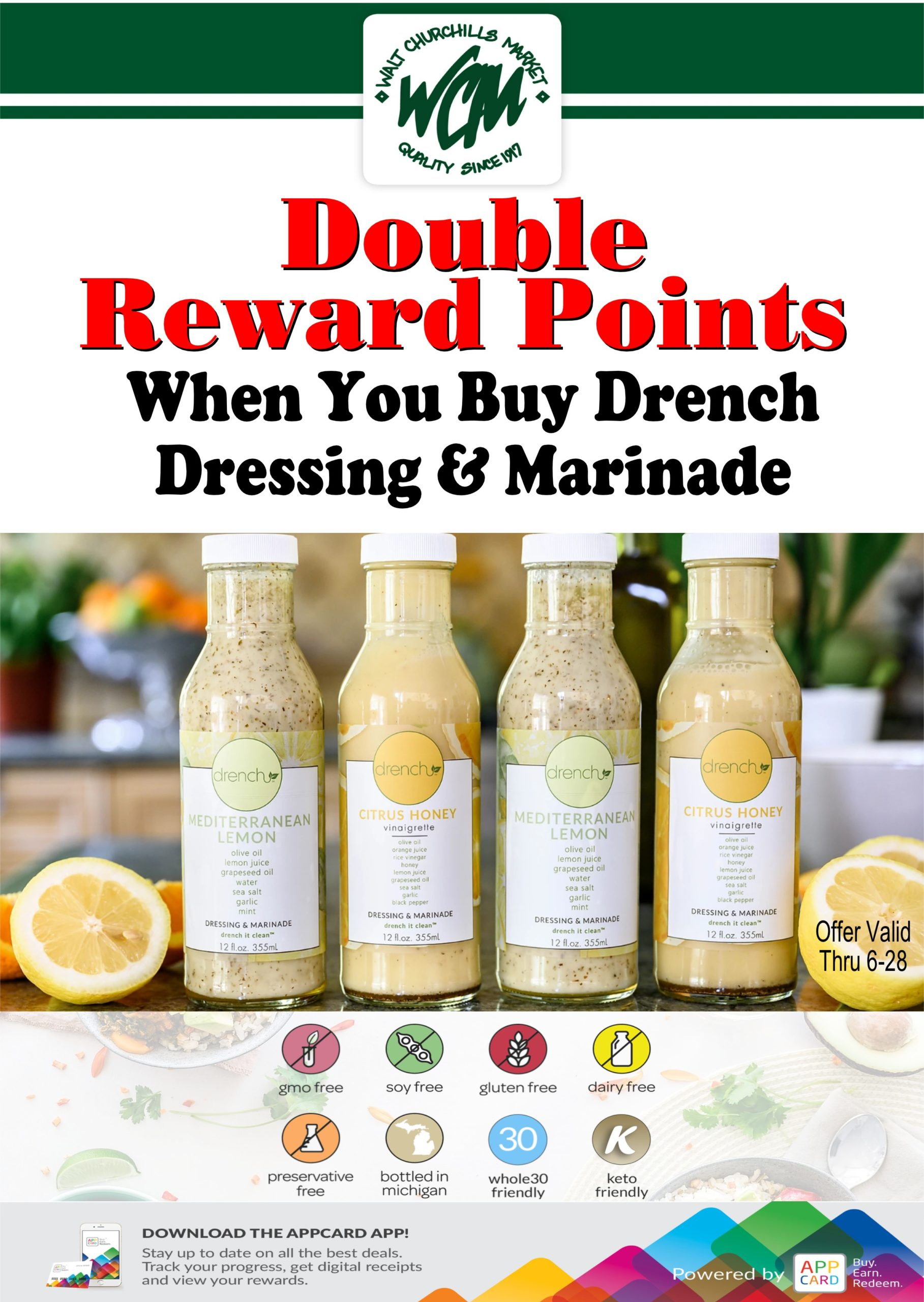 Double reward Points when you buy drench dressing & marinade