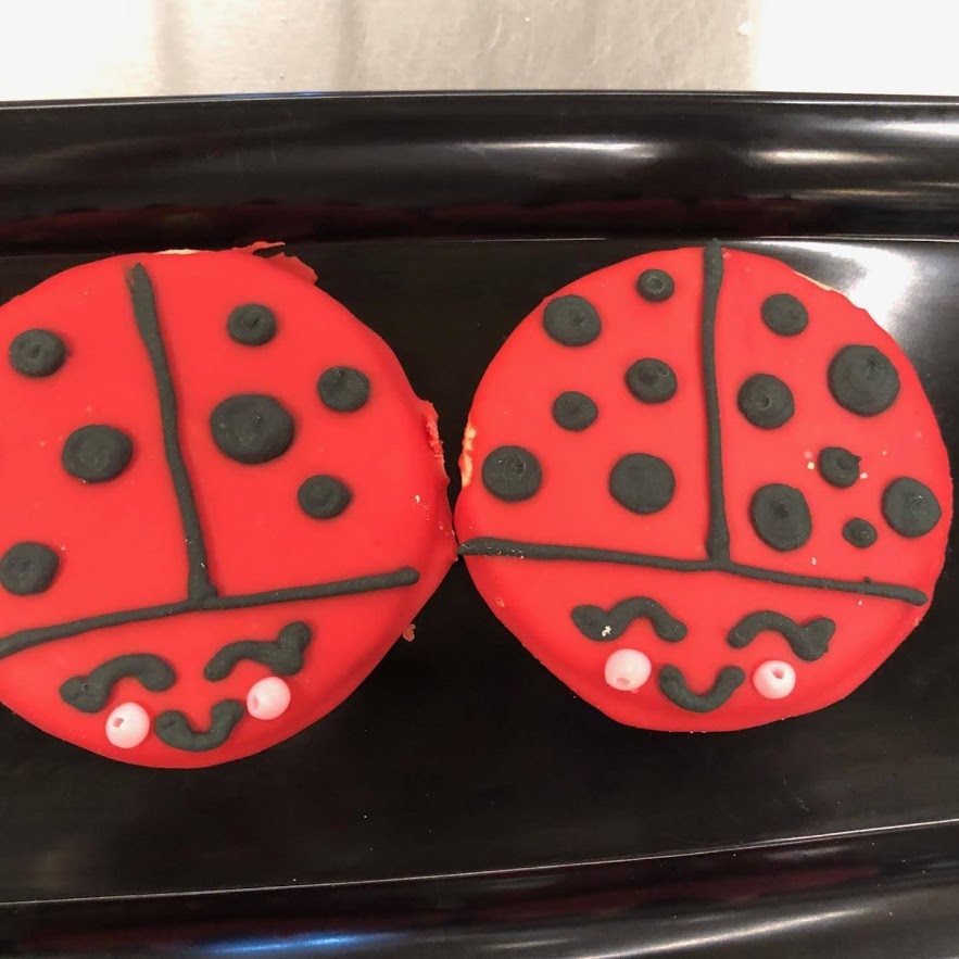 Two frosted cookies decorated to look like lady bugs.