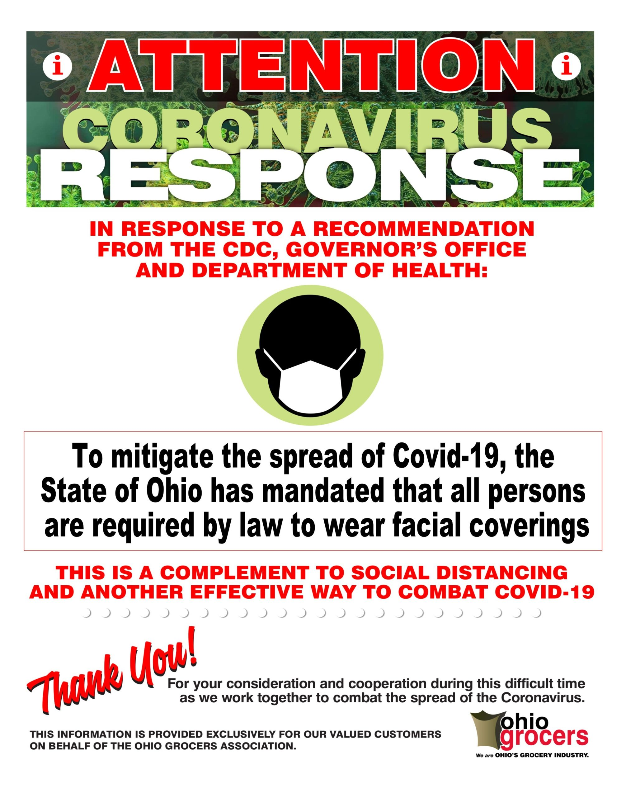 To mitigate the spread of COVID-19, the Sate of Ohio has mandated that all persons are required by law to wear facial coverings. This is a compliment to social distancing and another effective way to combat COVID-19.