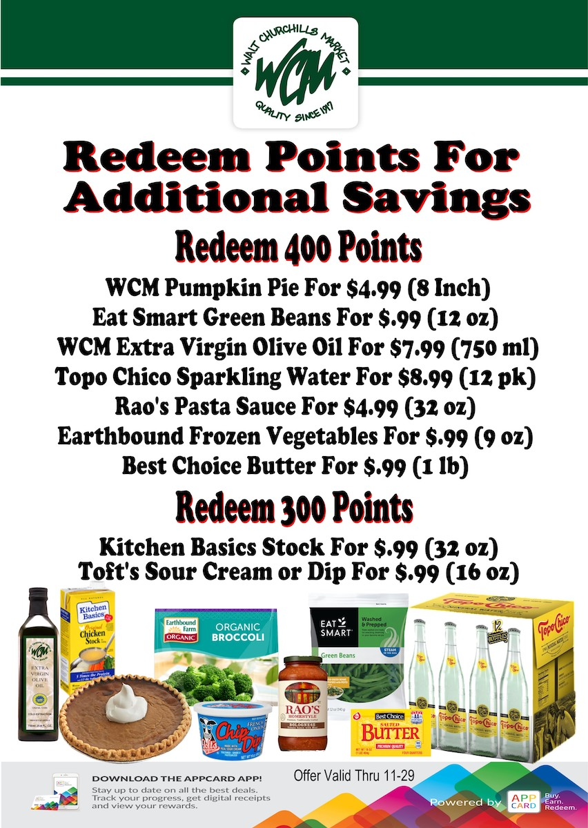 Redeem points for additional savings.
