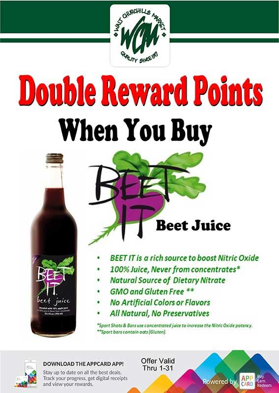 Double Reward points when you buy 'Beet It' Beet Juice