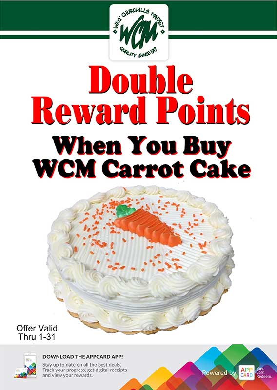 Double reward points when you buy WCM Carrot Cake