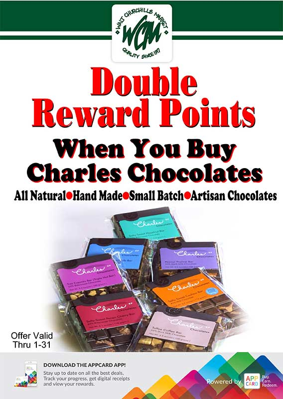 Double reward points when you buy Charles Chocolates