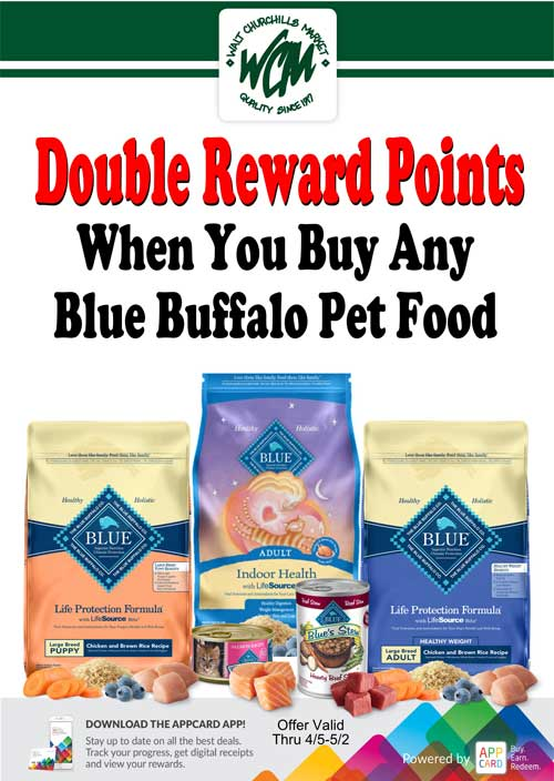 Double reward points when you buy any Blue Buffalo pet food