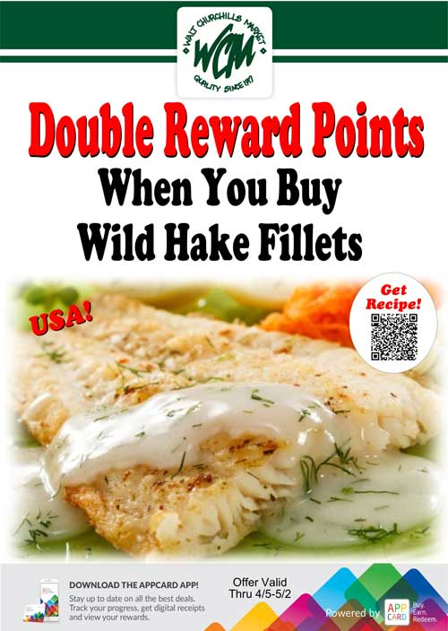 Double reward points when you buy wild Hake fillets