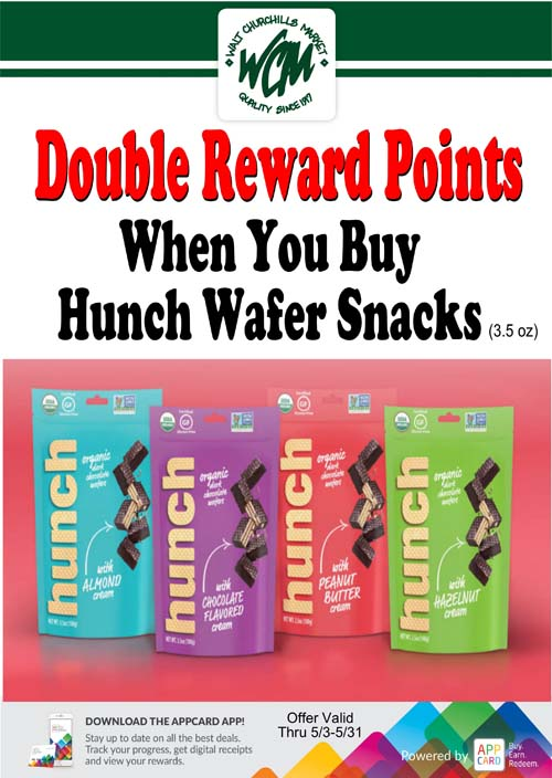Double reward points when you buy Hunch wafer snacks