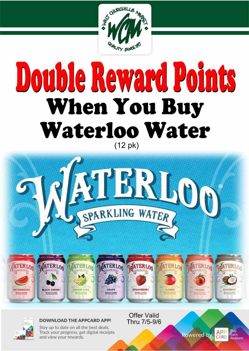 Double reward points when you buy Waterloo Water (12 pk)