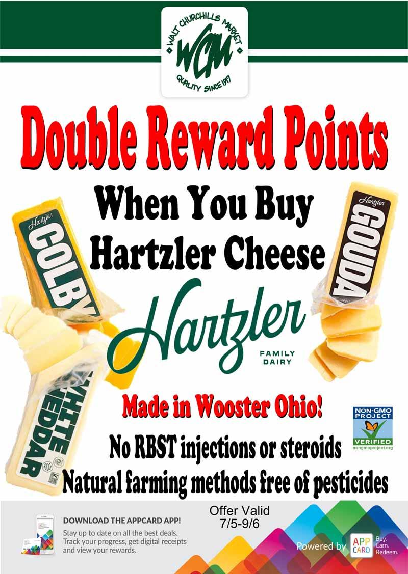 Double reward points when you buy Hartzler Cheese