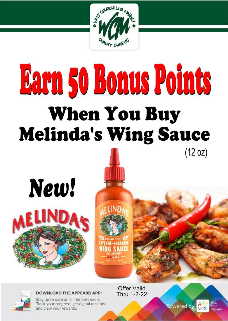 Earn 50 bonus points when you buy Melinda's Wing Sauce (12 oz)