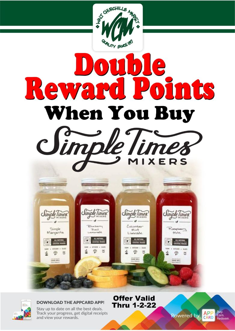 Double reward points when you buy Simple Times Mixers